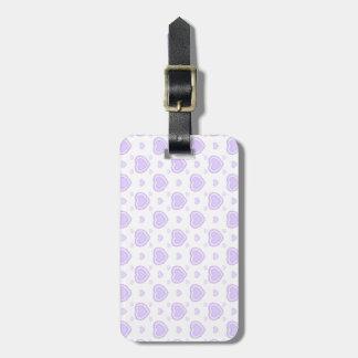 Romantic Lilac & White Hearts Luggage Tag