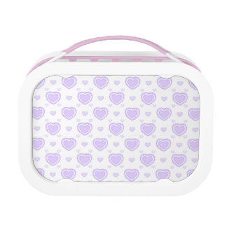 Romantic Lilac & White Hearts Lunch Box