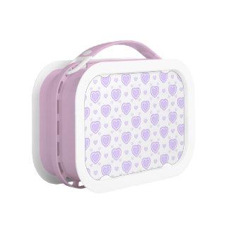 Romantic Lilac & White Hearts Lunch Box