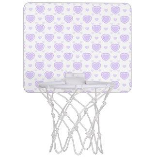 Romantic Lilac & White Hearts Mini Basketball Hoop