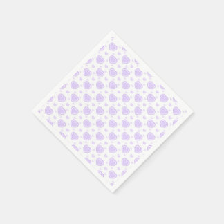 Romantic Lilac & White Hearts Paper Napkin