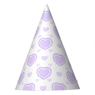 Romantic Lilac & White Hearts Party Hat