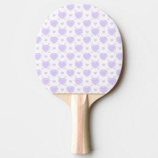 Romantic Lilac & White Hearts Ping Pong Paddle