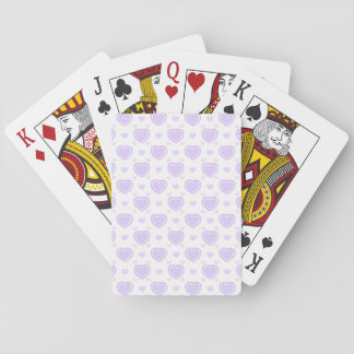 Romantic Lilac & White Hearts Playing Cards