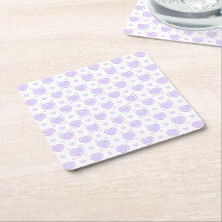 Romantic Lilac & White Hearts Square Paper Coaster