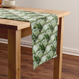 ROMANTIC LILY OF THE VALLEY SHORT TABLE RUNNER