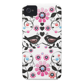 Romantic Love birds, Flowers & Swirls iPhone 4 Cases