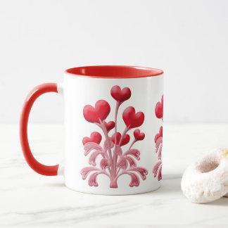 Romantic Love Blossoms Red Heart Valentines Flower Mug