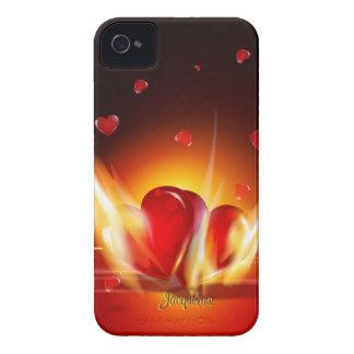 Romantic Love Burning Hearts Blackberry Case