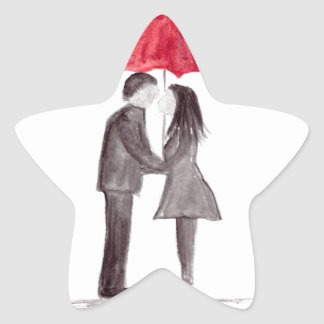 Romantic love couple with red umbrella watercolor star sticker