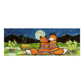 Romantic Love Fox Foxes Poster Navy Night Moon