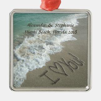 Romantic Love on the Beach Christmas Ornament