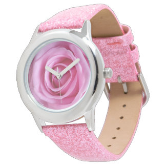 Romantic Love Sweet Soft Pink Glitter Rose Flower Watches