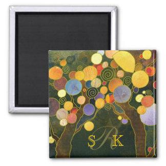 Romantic Love Trees Monogram Wedding Keepsake Magnet