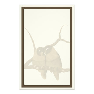 Romantic Lovebirds in a Frame Custom Stationery