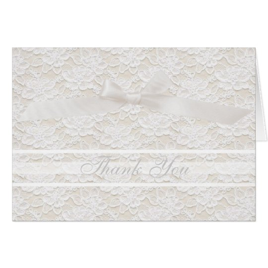 Romantic Lovely White Floral Lace Thank You Card