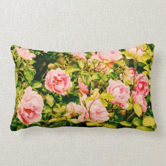Romantic lumbar pillow with pink garden roses