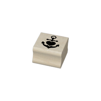 Romantic marine anchor and heart rubber stamp