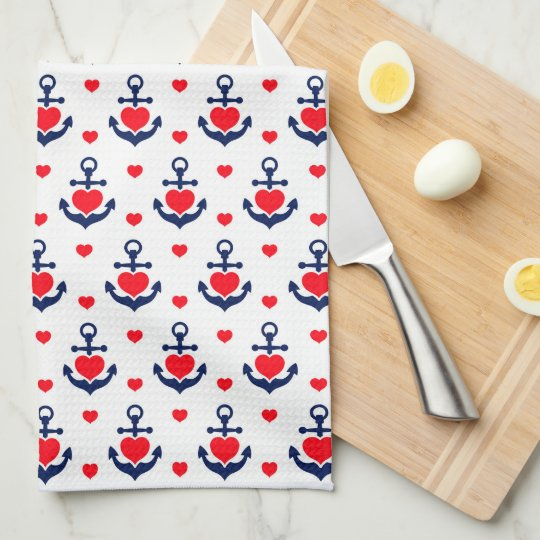 Romantic Marine Anchors and Hearts Pattern Kitchen Towels