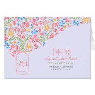 Romantic mason jar floral pink wedding thank you card