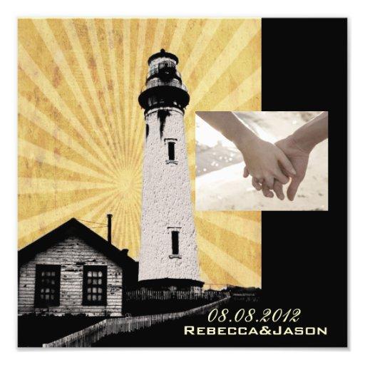 Romantic modern elegant Lighthouse beach Wedding Art Photo