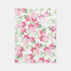 Romantic modern pink white trendy roses floral fleece blanket