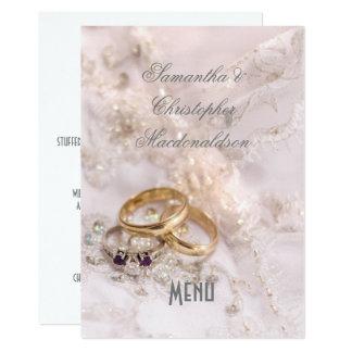 Romantic modern wedding menu card