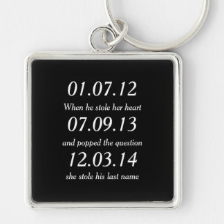 Romantic Moments Personalized Dates Custom Wedding Keychain