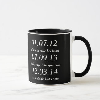 Romantic Moments Personalized Dates Custom Wedding Mug