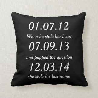 Romantic Moments Personalized Dates Custom Wedding Throw Pillow