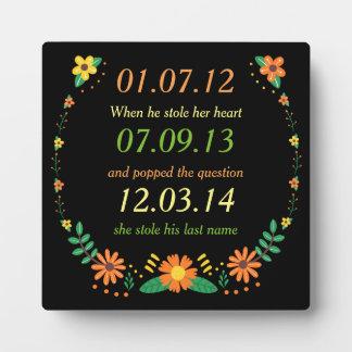 Romantic Moments Personalized Dates Floral Wedding Plaque