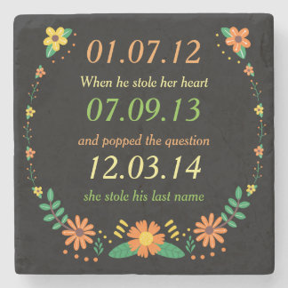 Romantic Moments Personalized Dates Floral Wedding Stone Coaster