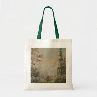 Romantic Mountain Landscape Canvas Tote Bag
