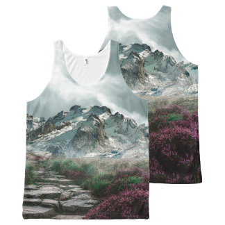 Romantic Mountains With Old Stone Road And Flowers All-Over-Print Tank Top