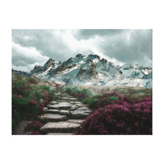 Romantic Mountains With Old Stone Road And Flowers Canvas Print