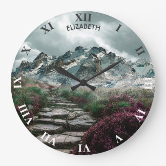 Romantic Mountains With Old Stone Road And Flowers Large Clock