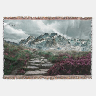 Romantic Mountains With Old Stone Road And Flowers Throw Blanket