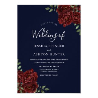 Romantic Navy & Red Rose Wedding Invite