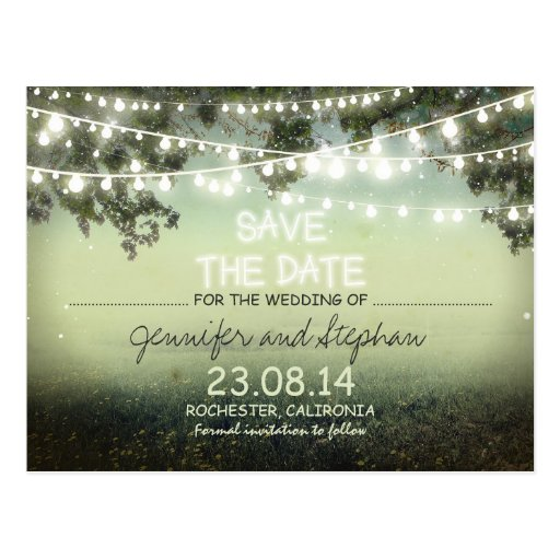 romantic night lights modern save the date postcards