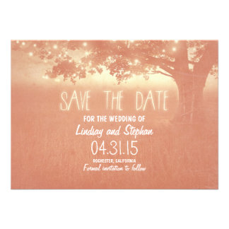romantic night lights rustic save the date cards