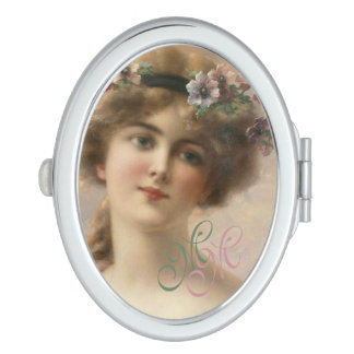 Romantic Nostalgia Vintage Woman With Monogram Makeup Mirror