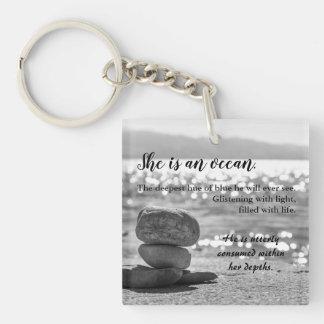 Romantic Ocean Love Photo Poetry Keychain