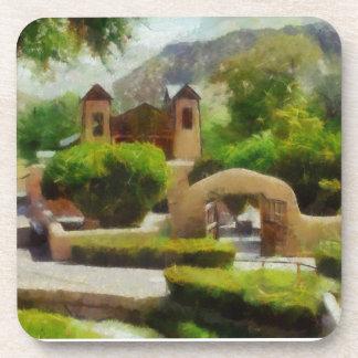 ROMANTIC OLD CHURCH, NEW MEXICO. BEVERAGE COASTER