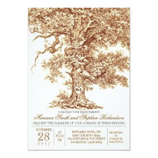 Romantic old oak tree rustic wedding invitation