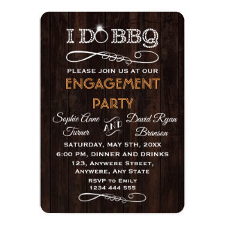 Romantic Old Wood I DO BBQ Engagement Party Invite