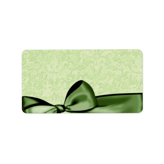 Romantic Olive Green Faux Satin Bow Wedding Favour