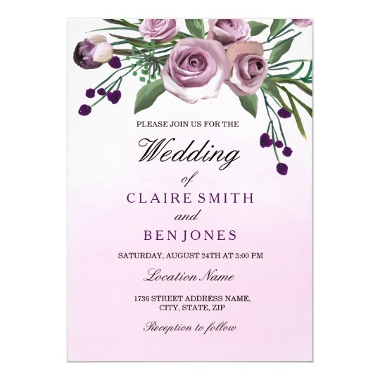 Romantic Ombre Pastel Purple Rose Wedding Invite
