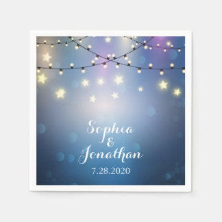 Romantic Outdoor Wedding Twinkle String Lights Paper Napkin
