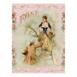 Romantic Paris Lovers pink shabbychic Post Cards