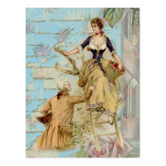 Romantic Paris Lovers Shabbychic blue Postcard